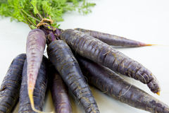 Bunch of heirloom purple carrots, over white and wooden backgrou Royalty Free Stock Photography