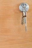 Bunch of home keys in lock of wood door Stock Photography
