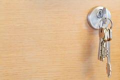 Bunch of home keys in lock of wooden door Stock Image