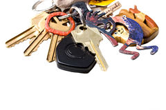 Bunch of home and office keys on a key chain isola Stock Image
