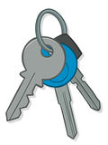 Bunch of house keys. Illustration of a bunch of silver metal house and car keys on a keyring with a blue circular tag, isolated on white Royalty Free Stock Image