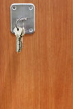 Bunch of house keys in keyhole of door Stock Photo
