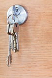 Bunch of house keys in lock of wood door Stock Photos