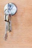 Bunch of house keys in lock of wood door Stock Photos