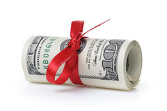 Bunch of hundred dollar bills tied with ribbon Royalty Free Stock Photography