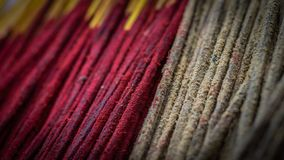 Bunch of incense or josh stick with red and brown color royalty free stock photography