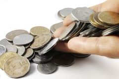 A bunch of Indian Currency Coins in Hand Royalty Free Stock Images