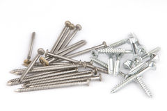 Bunch of inox nails and screws close up Royalty Free Stock Image