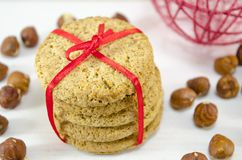 Bunch of integral cookies tied with a ribbon Royalty Free Stock Photos