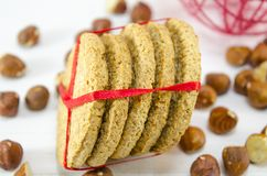 Bunch of integral cookies tied with a ribbon Royalty Free Stock Image