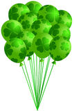 Bunch of Irish Green Balloons with Shamrocks stock illustration
