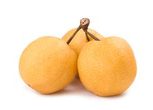 Bunch of isolated asian-pear fruit with stem Stock Photography