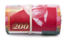 Roll of 200 Israeli New Shekels Bills Royalty Free Stock Images