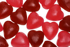 Bunch of jelly heart shape candy. Valentine's day background: sweet pink and red heart shaped candy Stock Images