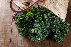 Bunch of kale in woven shopping basket Stock Images