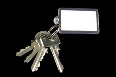 A bunch of keys with blank tag. Add your own text,or photo.Isolated on white Royalty Free Stock Image