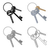 A bunch of keys from the cells in the prison. Keys for opening criminals.Prison single icon in cartoon style vector Stock Image