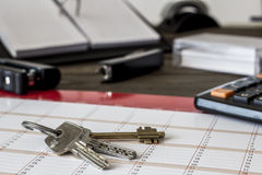 Bunch of keys on the desk Royalty Free Stock Photography