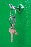 Bunch keys on door Stock Photos