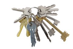 Bunch of keys from doors. On a white background royalty free stock images