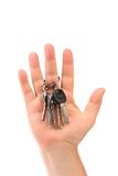 Bunch of keys are on a hand. Royalty Free Stock Images