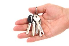Bunch of keys are on a hand. Stock Image