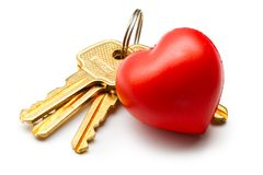 Bunch of keys and heart Royalty Free Stock Image