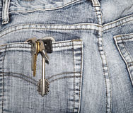 Bunch of keys in a hip-pocket of jeans Stock Photography