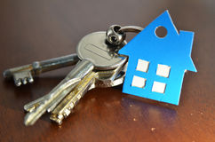 Bunch of keys with house shaped cardboard Royalty Free Stock Photography