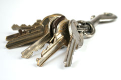 Bunch of keys isolated. Bunch of keys with carabine isolated over white Royalty Free Stock Image