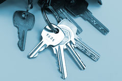 Bunch of keys isolated over blue Royalty Free Stock Images