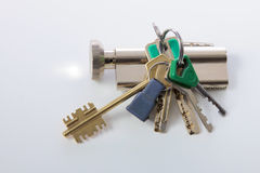 Bunch of keys isolated over white background Royalty Free Stock Images
