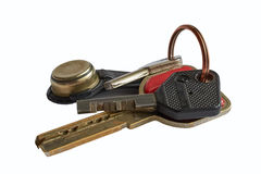Bunch keys isolated on white background. Bunch of keys isolated on white background royalty free stock image