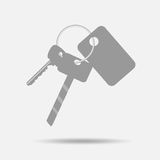 Bunch of keys with keychain. Key-ring and line, security and metal,  illustration Stock Photo