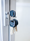 Bunch of keys in a keyhole Stock Photography