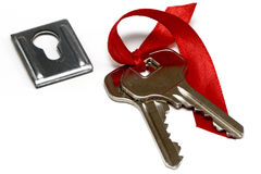 A bunch of keys and keyhole Royalty Free Stock Photography