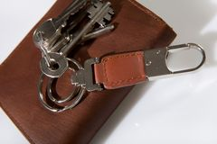 Bunch of keys on leather wallet Royalty Free Stock Photography