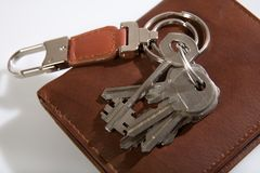 Bunch of keys on leather wallet Royalty Free Stock Photos