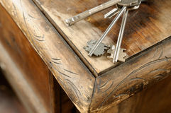 Bunch of keys on old table. Royalty Free Stock Photography