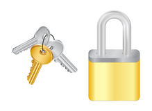 Bunch of keys and padlock Royalty Free Stock Photos