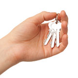 Bunch of keys on the palm. Hand holding bunch of keys, isolated on white Royalty Free Stock Photo