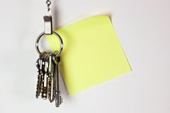 Bunch of keys with sticky note Stock Photo