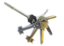 Bunch of keys.Still-life on white background Stock Images