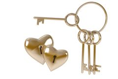 Bunch of keys to heart, concept  love. White background, isolated Royalty Free Stock Photo