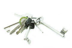 Bunch of keys on white background Royalty Free Stock Image