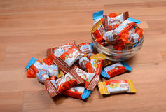 Kinder mini chocolates. Bunch of Kinder mini chocolates in a glass bowl Royalty Free Stock Photo