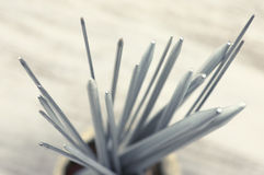 Bunch of knitting needles Royalty Free Stock Images