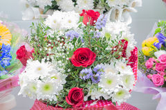 Bunch of large white chrysanthemums and red roses Royalty Free Stock Photos