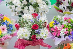 Bunch of large white chrysanthemums and red roses Stock Photo