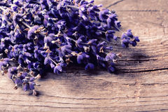 Bunch of lavander. On wooden background Stock Images